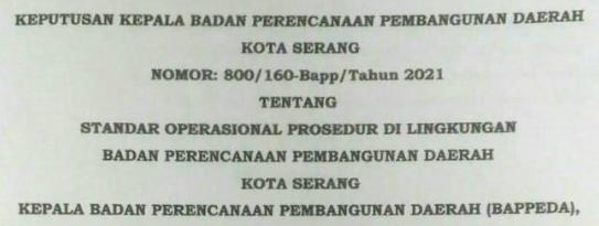 SOP BAPPEDA KOTA SERANG TAHUN 2021