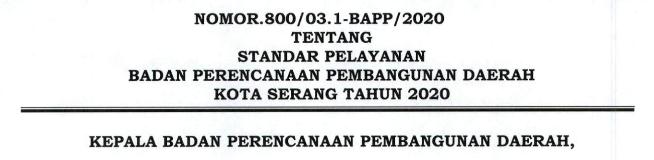 STANDAR PELAYANAN BAPPEDA KOTA SERANG TAHUN 2021